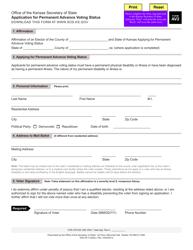 """Form AV2 """"Application for Permanent Advance Voting Status"""" - Kansas"""