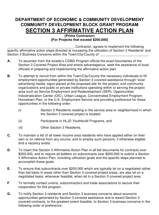 """""""Section 3 Affirmative Action Plan"""" - Maine Download Pdf"""