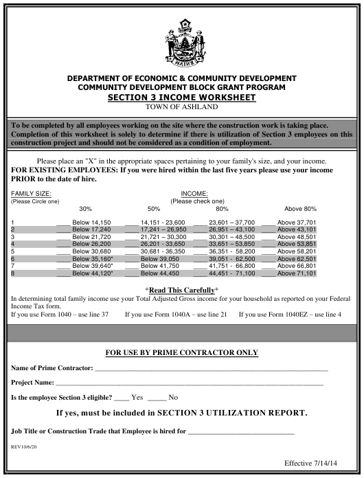 """""""Section 3 Income Worksheet"""" - Town of Ashland, Maine Download Pdf"""