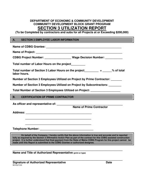 """Section 3 Utilization Report"" - Maine Download Pdf"