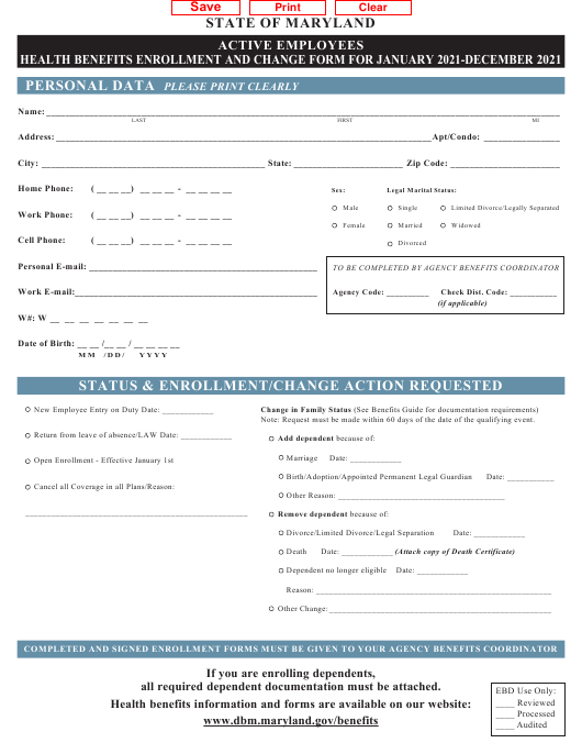 """""""Active Employees Health Benefits Enrollment and Change Form"""" - Maryland Download Pdf"""