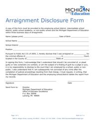 """""""Arraignment Disclosure Form"""" - Michigan"""