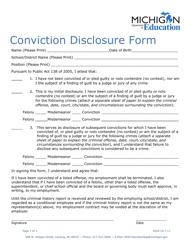 """""""Conviction Disclosure Form"""" - Michigan"""