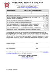 "Form BFS-209 ""Probationary Instructor Application"" - Michigan"