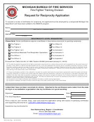 "Form BFS-258 ""Request for Reciprocity Application"" - Michigan"