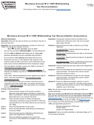 "Form MW-3 ""Montana Annual W-2 1099 Withholding Tax Reconciliation"" - Montana"