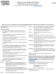 "Form RW-3 ""Montana Annual Mineral Royalty Withholding Tax Reconciliation"" - Montana"