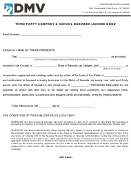 """Form CDL-049 """"Third Party Company & School Business License Bond"""" - Nevada"""
