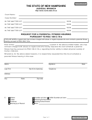 """Form NHJB-3169-F """"Request for a Parental Fitness Hearing Pursuant to Rsa 169-c:19-e"""" - New Hampshire"""