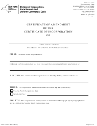 "Form DOS-1553-F ""Not-For-Profit Corporation Certificate of Amendment of the Certificate of Incorporation"" - New York"