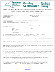 """GC/BC Form 106 """"Supplier License Application for Manufacturing or Distributing Games of Chance and/or Bingo Supplies and Equipment"""" - New York"""