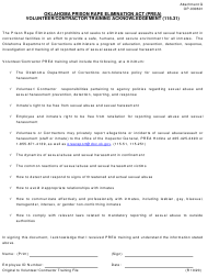 """Form OP-030601 Attachment G """"Volunteer/Contractor Training Acknowledgement"""" - Oklahoma"""
