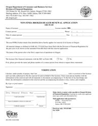 """Form 440-2785 """"Non-FiNRA Broker-Dealer Renewal Application"""" - Oregon"""