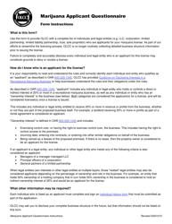 """Form MJ20-1060 """"Marijuana Applicant Questionnaire"""" - Oregon"""