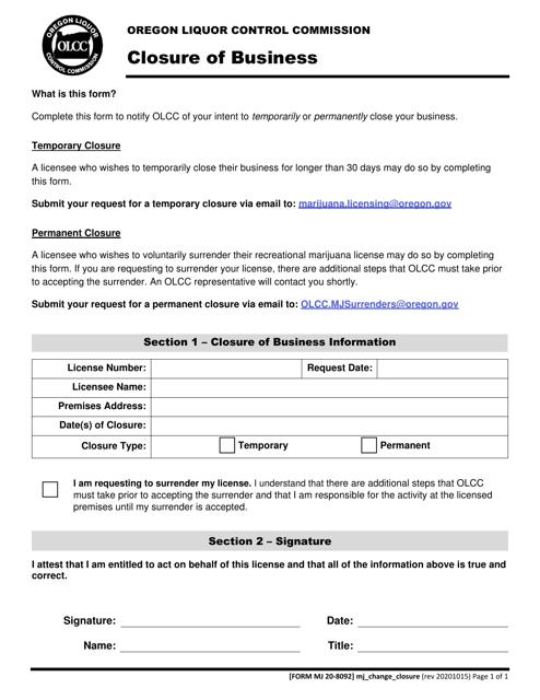 Form MJ20-8092  Printable Pdf
