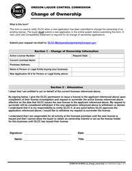 """Form MJ20-8091 """"Change of Ownership"""" - Oregon"""