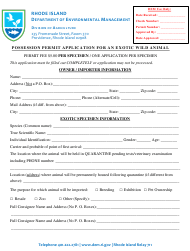 """""""Possession Permit Application for an Exotic Wild Animal"""" - Rhode Island"""