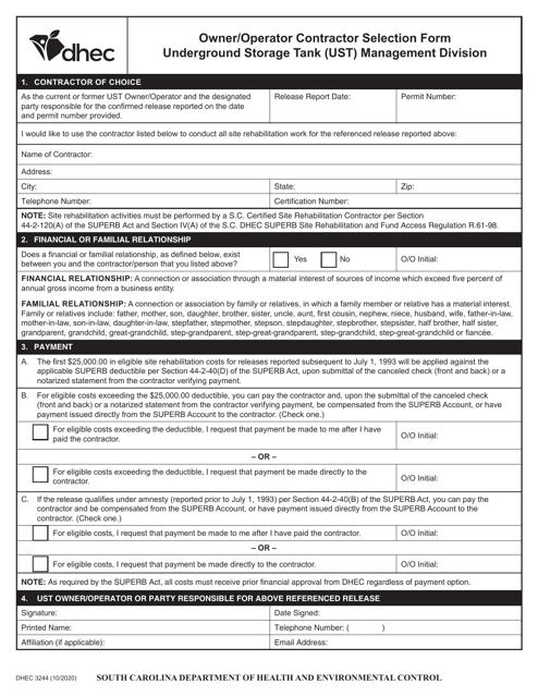 DHEC Form 3244 Printable Pdf