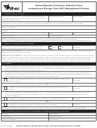 """DHEC Form 3244 """"Owner/Operator Contractor Selection Form"""" - South Carolina"""