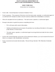 """DHEC Form 3244 """"Owner/Operator Contractor Selection Form"""" - South Carolina, Page 2"""