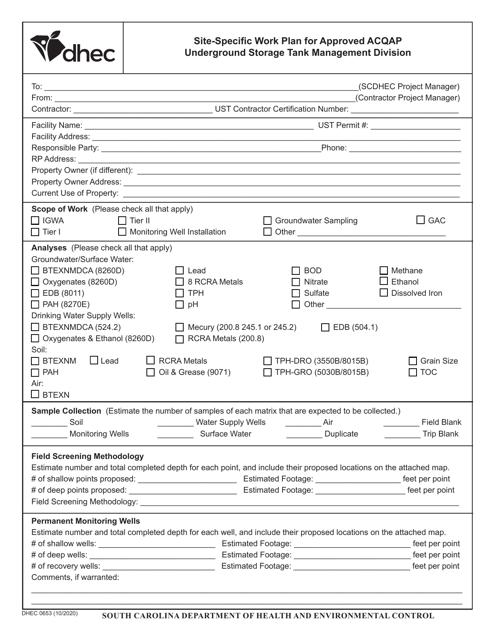 DHEC Form 0653 Printable Pdf