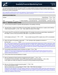 "Form PTN-126 ""Quarterly/Financial Monitoring Form"" - Texas"