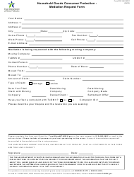 "Form ENF-HHG-MR1 ""Household Goods Consumer Protection - Mediation Request Form"" - Texas"