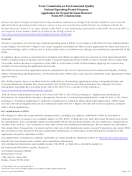 """Form OP-2 (TCEQ-10059) """"Application for Permit Revision/Renewal"""" - Texas"""