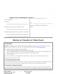 "Form FL Non-Parent440 ""Motion to Transfer to Tribal Court"" - Washington"