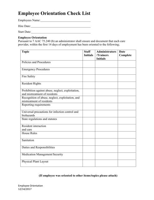 """Employee Orientation Check List"" - Alaska Download Pdf"