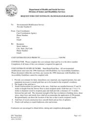"Form EM-7 ""Request for Cost Estimate - Hand Rails and Grab Bars"" - Alaska"