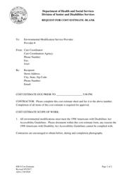 """Form EM-4 """"Request for Cost Estimate - Blank"""" - Alaska"""