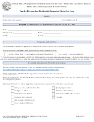 "Form CERT-09 ""Service Declaration: Residential Supported Living Services"" - Alaska"