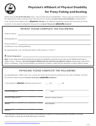 """""""Physician's Affidavit of Physical Disability for Proxy Fishing and Hunting"""" - Alaska"""