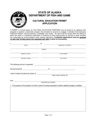 """""""Cultural Education Permit Application"""" - Alaska"""