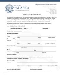 """""""Fish Transporter Permit Application"""" - Alaska"""