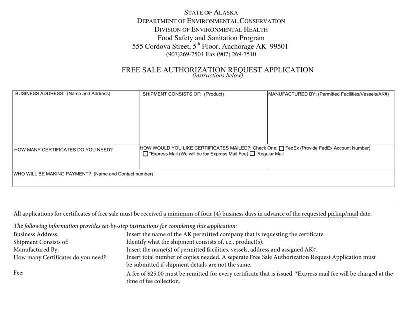 """Free Sale Authorization Request Application"" - Alaska Download Pdf"
