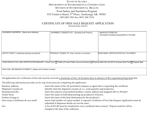 """Certificate of Free Sale Request Application"" - Alaska Download Pdf"