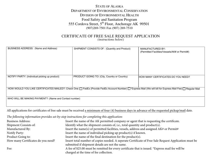 """Certificate of Free Sale Request Application"" - Alaska Download Pdf"
