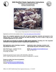 """Instructions for Form SHELL-016-ADEC """"Shellfish Dealer Application"""" - Alaska, 2020"""