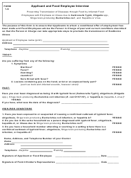 """Form 1-A """"Applicant and Food Employee Interview"""" - Alaska"""