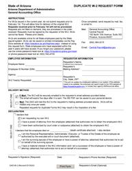 """Form GAO-W-2 """"Duplicate W-2 Request Form"""" - Arizona"""