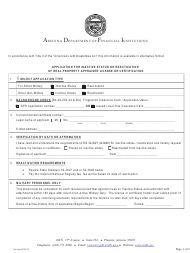 """""""Application for Inactive Status or Reactivation of Real Property Appraiser License or Certification"""" - Arizona"""