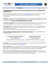 "Instructions for ""Trust Company Application"" - Arizona"
