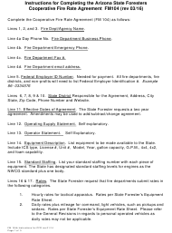 """Instructions for Form FM104 """"Arizona State Foresters Cooperative Fire Rate Agreement"""" - Arizona"""