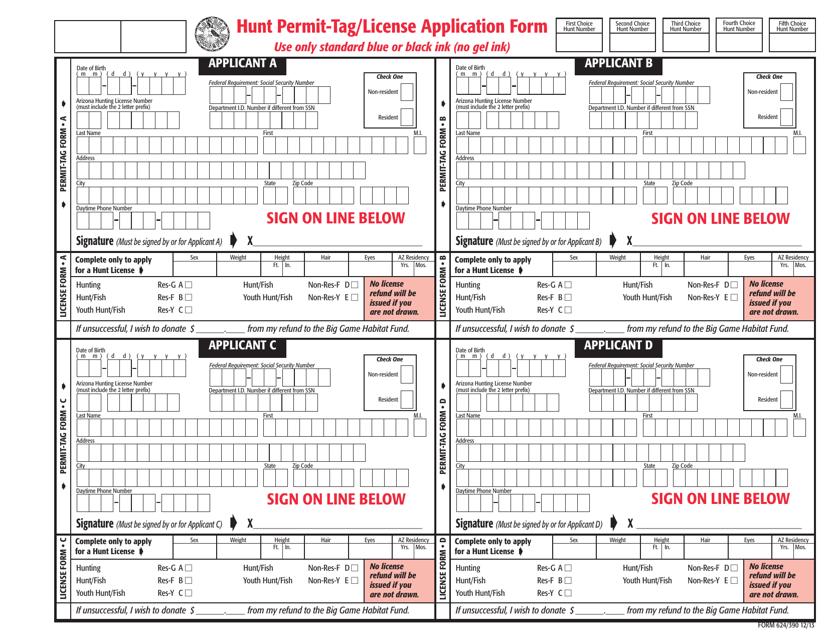 Form 624/390  Printable Pdf