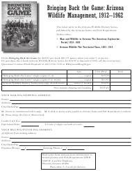 """Arizona Wildlife History Series Order Form"" - Arizona"