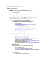 """Applicant Testing Checklist"" - Arizona"