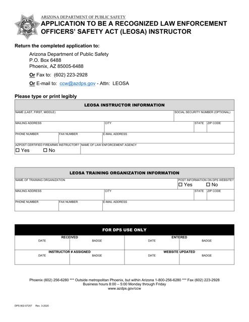 Form DPS802-07257  Printable Pdf