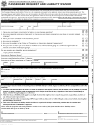 "Form DPS802-03430 ""Passenger Request and Liability Waiver"" - Arizona"